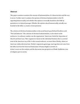 SRP om homoseksualitet og kristen fundamentalisme i USA