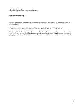 SRP om den spanske syge i Biologi A og Historie A