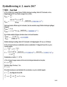 Opgaver i Fysik A-niveau: M22, M23, M24, M30