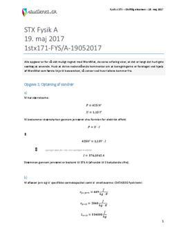 STX Fysik A 2017 19. maj - Besvarelse af eksamenssæt