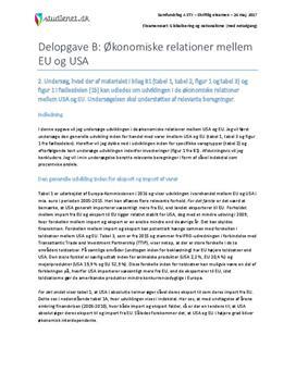Delopgave B: Økonomiske relationer mellem EU og USA | Samfundsfag A