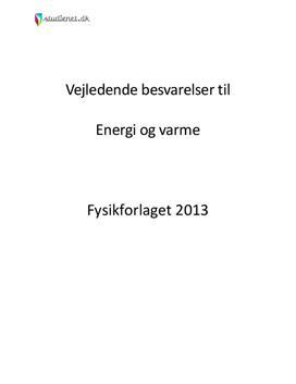 Energi og varme | Vejledende opgaver i Fysik A-niveau