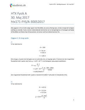Fysik A HTX - 30. maj 2017