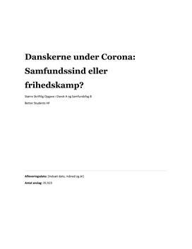 SSO: Danskerne under Corona: samfundssind eller frihedskamp?