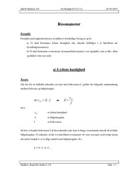 Resonans i halvåbent rør + Resonansfrekvenser - Rapport i Fysik