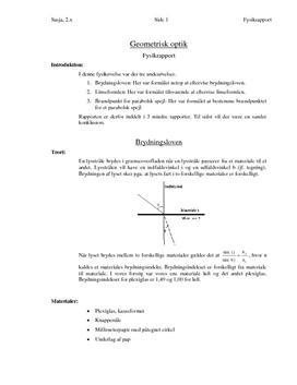 Fysik: Rapport om Optik