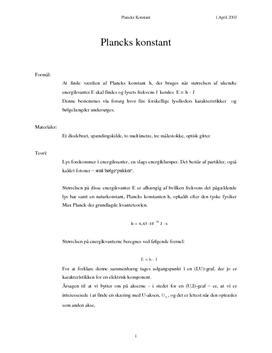 Plancks konstant - Rapport i Fysik