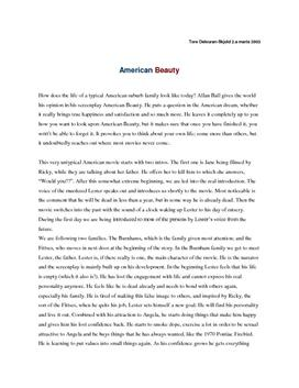 american beauty character essay 1999 had its fair share of rebellious movies like fight club, the matrix, office space, and american beauty these films expressed distaste for a system in our society, whether that be political or cultural (all of these films feature a middle age man fed up with full time office work for some reason.