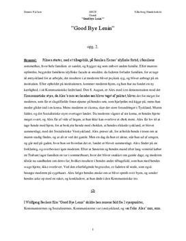 Dansk Referat og Analyse af Film: Good Bye Lenin