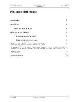 SSO om risikofaktorerne mht. social arv