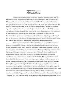 Analyse af Impressions, soleil levant af Claude Monet