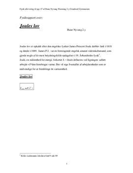 Joules lov - Fysikrapport