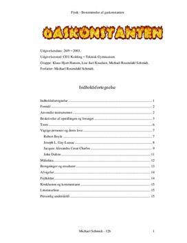 Bestemmelse af Gaskonstanten - Rapport i Fysik B