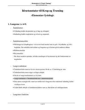 "Elementær anatomi og fysiologi | Noter til ""Krop & Træning"""
