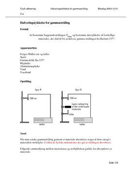Halveringstykkelse - Gammastråling