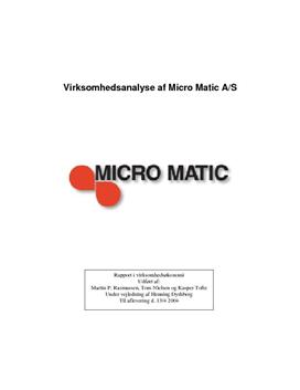 Virksomhedsanalyse af Micro Matic A/S