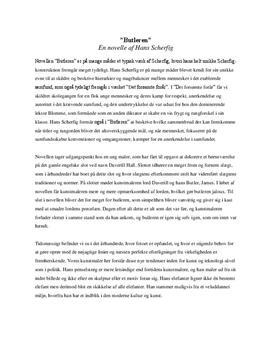 Analyse Hans Scherfigs novelle Butleren