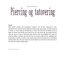 Den iscenesatte krop: Tatoveringer og piercinger | Teknologi B