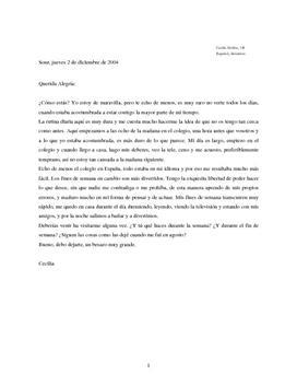 Querida Alegría | Brev til en spansktalende veninde | Spansk A