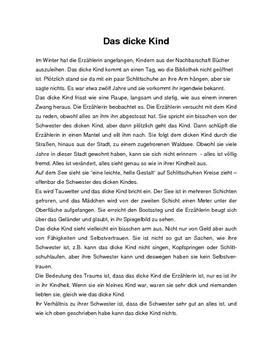 Text: Das dicke Kind - Resume - Marie Luise Kaschnitz