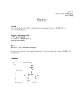 Kirchhoffs 1. lov - Kort Rapport i Fysik B