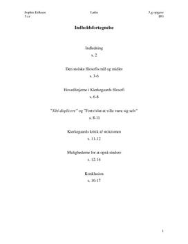 3.g SSO om Stoicismen og Kirkegaards filosofi