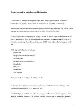 Bevægelsesanalyse af clear slag i badminton