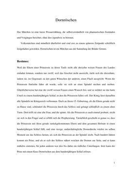 Dornröschen af Brüder Grimm