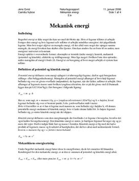 Bevarelse af mekanisk energi - rapport