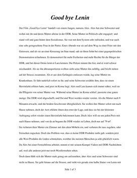 Opgave i Tysk: Good bye Lenin Anmeldelse