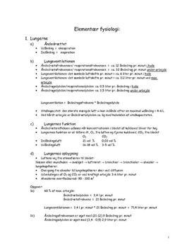 Elementær fysiologi | Noter