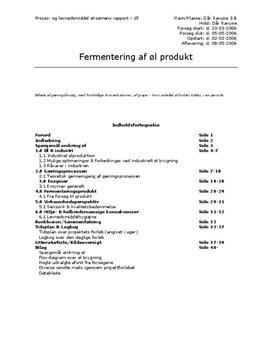 Fermentering af øl | Teknikfag - Proces, levnedsmiddel og sundhed A