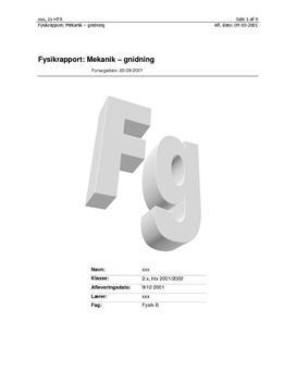 Dynamisk gnidningskoefficient - rapport i fysik