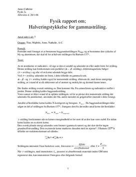 Absorptionskoefficienten - Absorption af gammastråling i bly