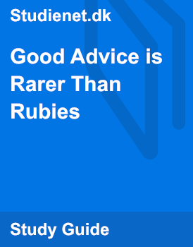 good advice is rarer than rubies